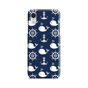Blue Nautical Anchor Marine Sea iPhone XR Case Cover