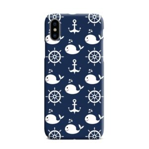 Blue Nautical Anchor Marine Sea iPhone XS Max Case