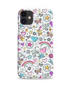 Butterfly Rainbow Doodles iPhone 11 Case
