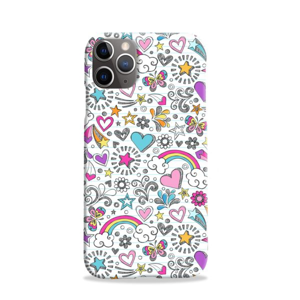 Butterfly Rainbow Doodles iPhone 11 Pro Case