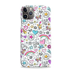 Butterfly Rainbow Doodles iPhone 11 Pro Max Case Cover