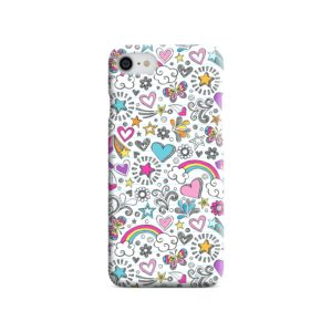 Butterfly Rainbow Doodles iPhone SE Case Cover