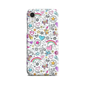 Butterfly Rainbow Doodles iPhone XR Case
