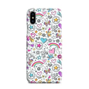 Butterfly Rainbow Doodles iPhone XS Max Case