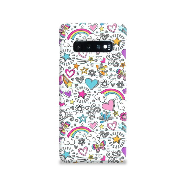 Butterfly Rainbow Doodles Samsung Galaxy S10 Case Cover
