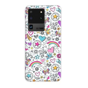 Butterfly Rainbow Doodles Samsung Galaxy S20 Ultra Case