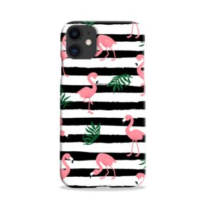 Flamingo Pink Stripes Leaves iPhone 11 Case