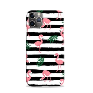 Flamingo Pink Stripes Leaves iPhone 11 Pro Case