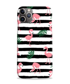 Flamingo Pink Stripes Leaves iPhone 11 Pro Max Case