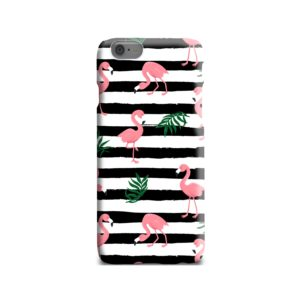 Flamingo Pink Stripes Leaves iPhone 6 Case Cover