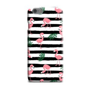 Flamingo Pink Stripes Leaves iPhone 6 Plus Case