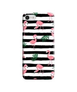 Flamingo Pink Stripes Leaves iPhone 7 Case Cover
