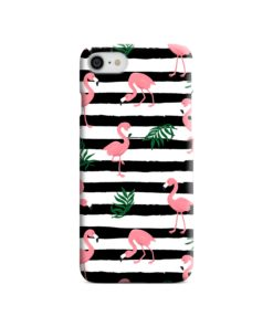 Flamingo Pink Stripes Leaves iPhone 8 Case Cover