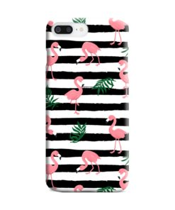 Flamingo Pink Stripes Leaves iPhone 8 Plus Case Cover
