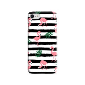 Flamingo Pink Stripes Leaves iPhone SE Case