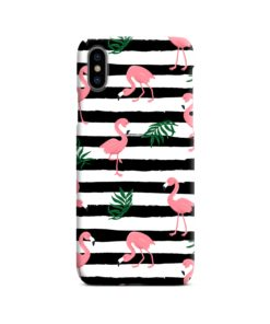 Flamingo Pink Stripes Leaves iPhone X / XS Case Cover
