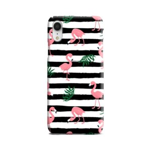 Flamingo Pink Stripes Leaves iPhone XR Case