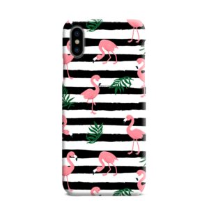 Flamingo Pink Stripes Leaves iPhone XS Max Case