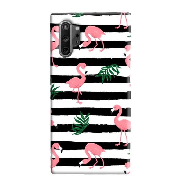 Flamingo Pink Stripes Leaves Samsung Galaxy Note 10 Plus Case Cover