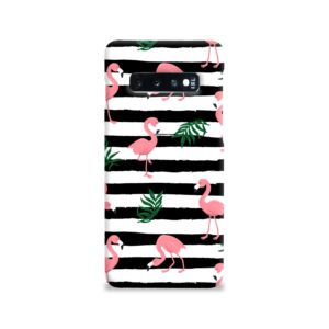 Flamingo Pink Stripes Leaves Samsung Galaxy S10 Case