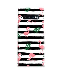 Flamingo Pink Stripes Leaves Samsung Galaxy S10 Plus Case Cover