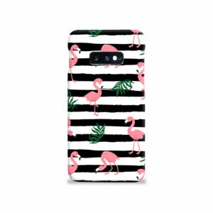 Flamingo Pink Stripes Leaves Samsung Galaxy S10e Case Cover