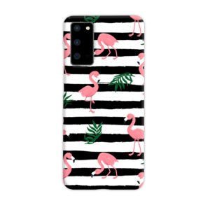 Flamingo Pink Stripes Leaves Samsung Galaxy S20 Case