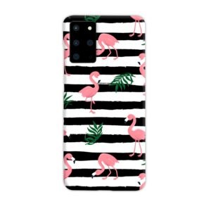 Flamingo Pink Stripes Leaves Samsung Galaxy S20 Plus Case Cover