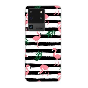 Flamingo Pink Stripes Leaves Samsung Galaxy S20 Ultra Case Cover