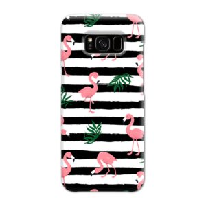 Flamingo Pink Stripes Leaves Samsung Galaxy S8 Case Cover