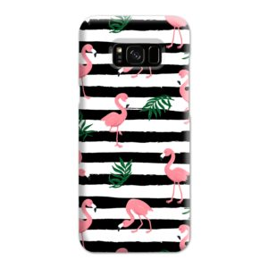 Flamingo Pink Stripes Leaves Samsung Galaxy S8 Plus Case Cover