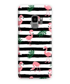 Flamingo Pink Stripes Leaves Samsung Galaxy S9 Case