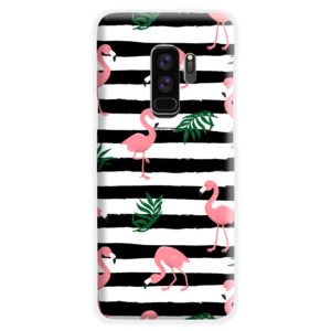 Flamingo Pink Stripes Leaves Samsung Galaxy S9 Plus Case Cover