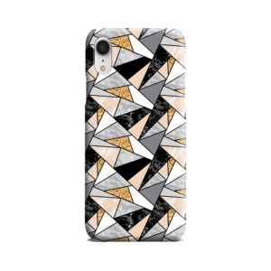 Geometric Black and Gold Marble iPhone XR Case