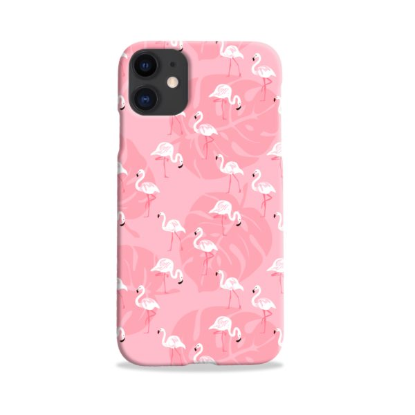 White Flamingos and Pink Leaf iPhone 11 Case Cover