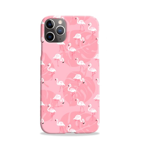 White Flamingos and Pink Leaf iPhone 11 Pro Case Cover