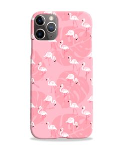 White Flamingos and Pink Leaf iPhone 11 Pro Max Case Cover