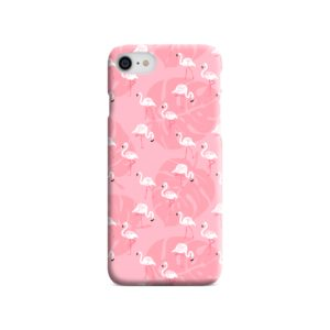 White Flamingos and Pink Leaf iPhone 8 Case Cover