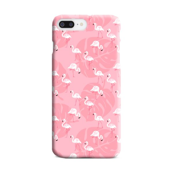 White Flamingos and Pink Leaf iPhone 8 Plus Case Cover