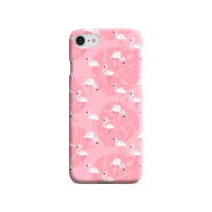 White Flamingos and Pink Leaf iPhone SE Case