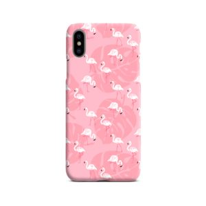 White Flamingos and Pink Leaf iPhone X / XS Case Cover
