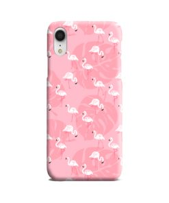 White Flamingos and Pink Leaf iPhone XR Case