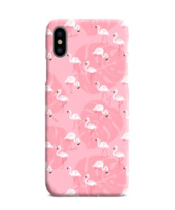 White Flamingos and Pink Leaf iPhone XS Max Case Cover