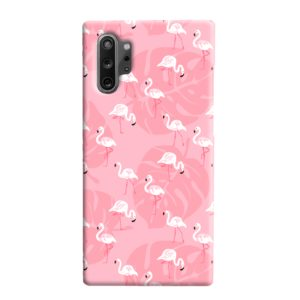 White Flamingos and Pink Leaf Samsung Galaxy Note 10 Plus Case