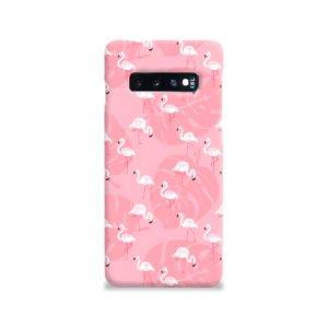 White Flamingos and Pink Leaf Samsung Galaxy S10 Case Cover