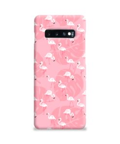 White Flamingos and Pink Leaf Samsung Galaxy S10 Plus Case