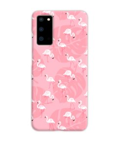 White Flamingos and Pink Leaf Samsung Galaxy S20 Case Cover