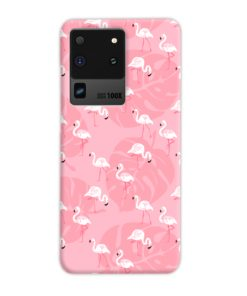 White Flamingos and Pink Leaf Samsung Galaxy S20 Ultra Case