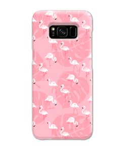 White Flamingos and Pink Leaf Samsung Galaxy S8 Case Cover