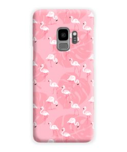 White Flamingos and Pink Leaf Samsung Galaxy S9 Case Cover